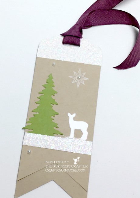 Holiday tags 2017 the Jurassic Crafter at craftcarnivore.com #stampinup #craftcarnivore #holidaytags