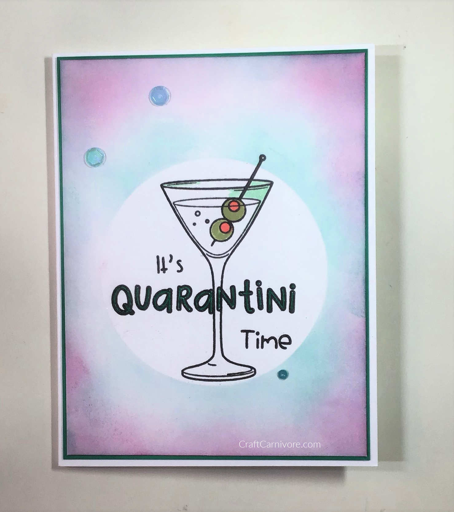 Picture of a card featuring a Quarantini